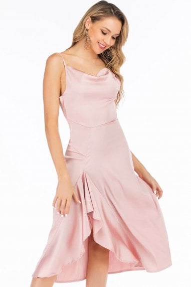 Pink Satin Cowl Neck Midi Dress