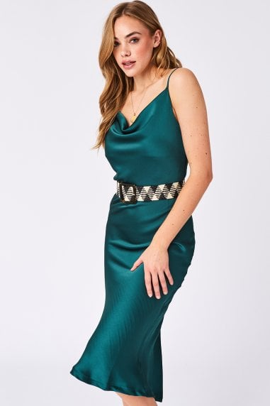 Green Plain Satin Midi Slip Dress