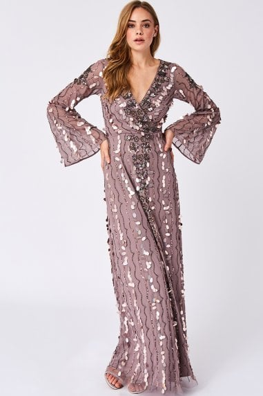 f020cfd09ea4 Lua Purple Wrap Neckline Bell Embellished Maxi Dress