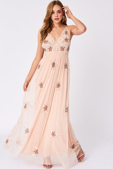 Welma Pink Sequin Embellished Maxi Dress