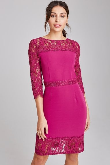 Tanner Magenta Lace Panel Dress