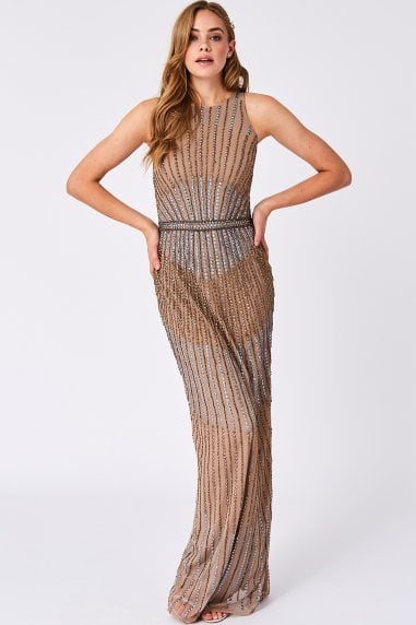 Mia Brown Embellished Maxi Dress