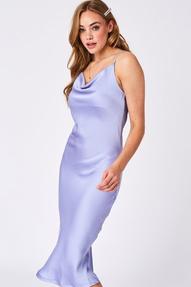 Lilac Plain Satin Midi Slip Dress