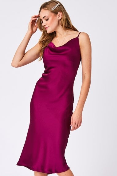 Magenta Plain Satin Midi Slip Dress