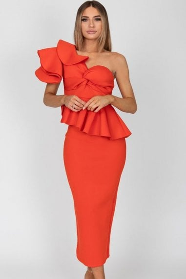 Michelle Orange Midi Dress