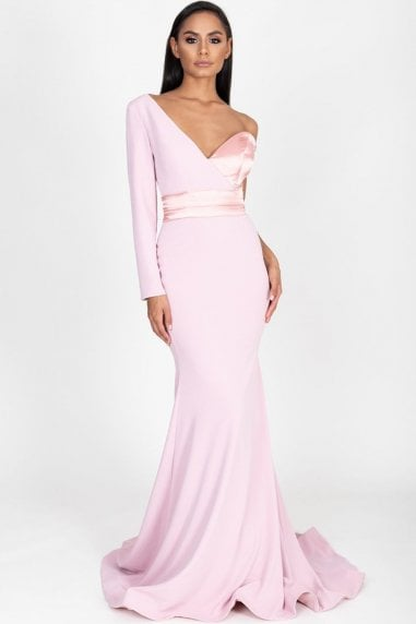 Aaliyah Blush One Shoulder Gown