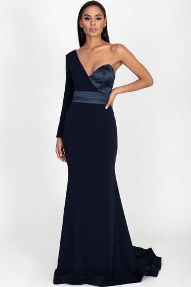 Aaliyah Navy One Shoulder Gown