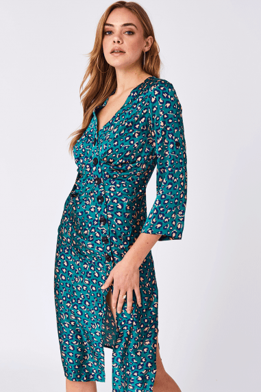 Liquorish Green Button Up Midi Dress