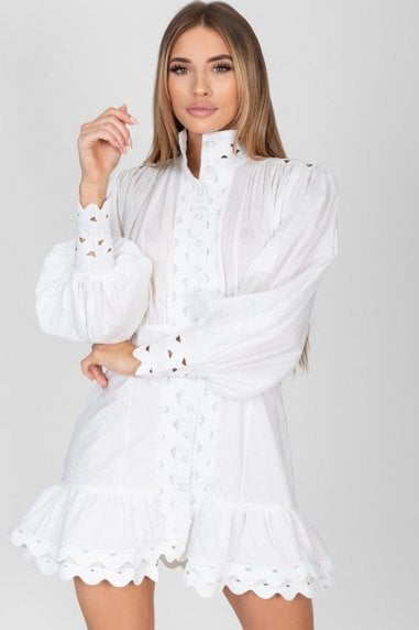 Florence White Lace Detailed Mini Dress
