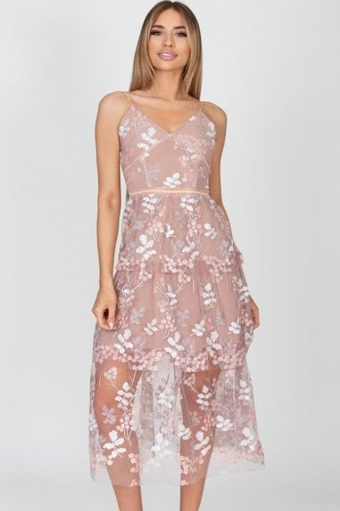 Zoey Blush Lace Floral Midi Dress
