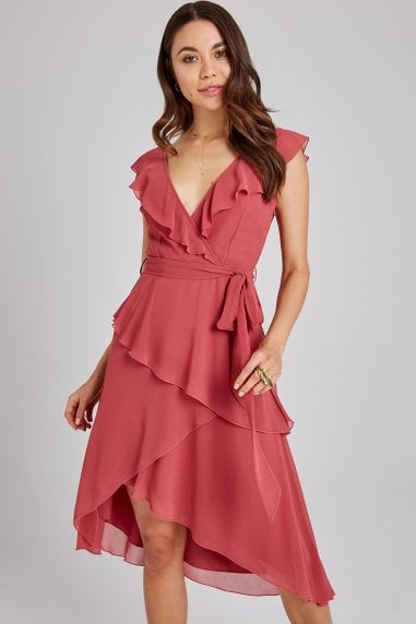 Cassidy Sienna Blush Layered Frill Midi Dress