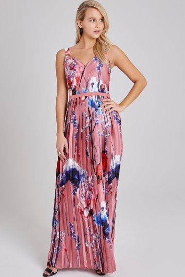f32b25a76974 Elva Floral-Print Pleated Maxi Dress. Little Mistress ...