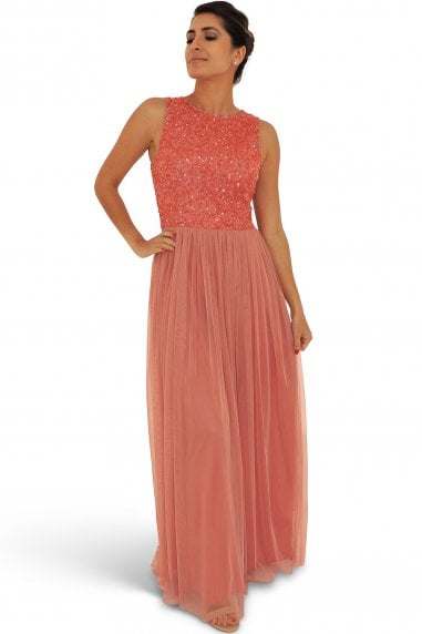 Ruby Red Sequin Embellished Maxi Dress