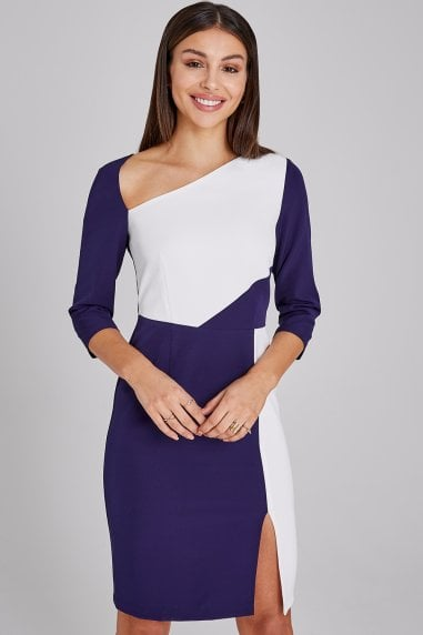 Hurley Navy And White Colour Block Dress