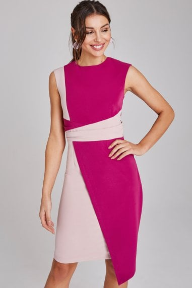 Devon Magenta And Blush Colour Block Dress