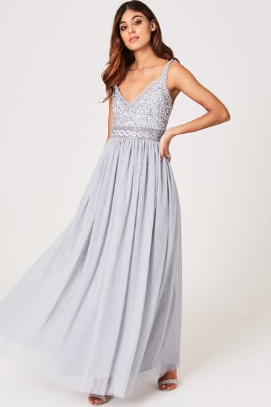 Luxury Serena Grey Hand-Embellished Sequin And Frill Maxi Dress