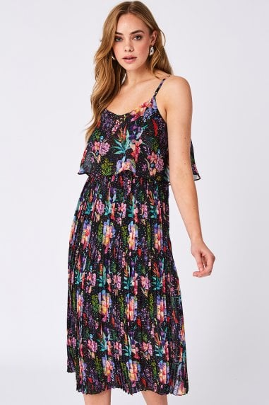Dark Floral Pleated Midi Summer Dress