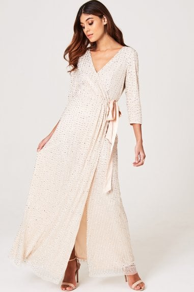 Luxury Cecily Nude Hand-Embellished Wrap Dress