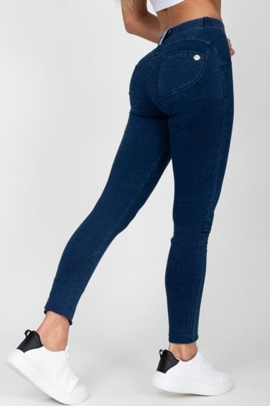 Dark Blue High Waist Denim Dark Stitch
