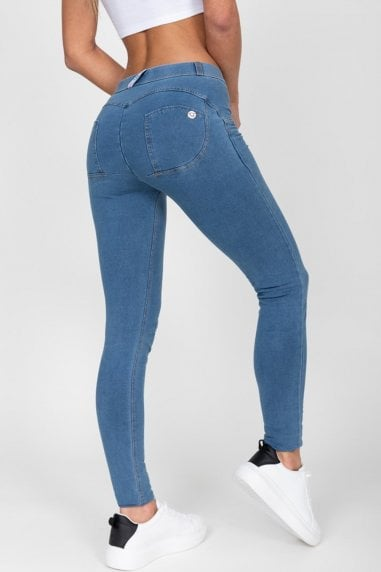 Dark Blue High Waist Denim Yellow Stitch