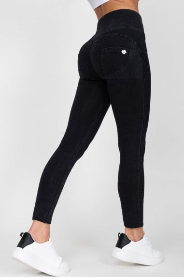 Black High Waist Denim Black Stitch Jeans