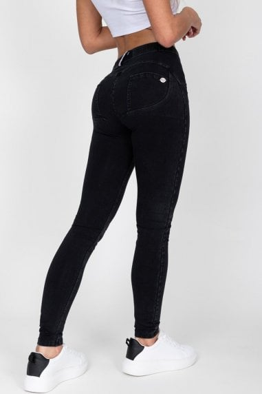 Black Mid Waist Denim Black Stitch Jeans