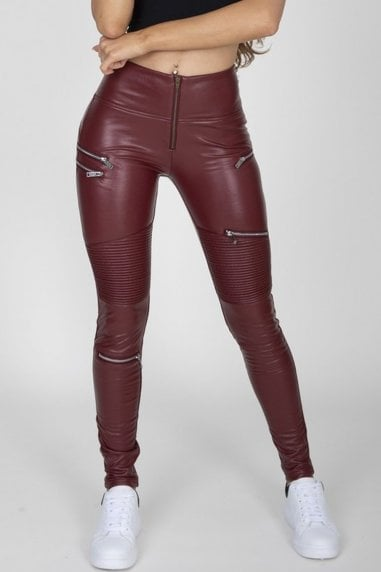 Wine Faux Leather Biker Pants High Waist