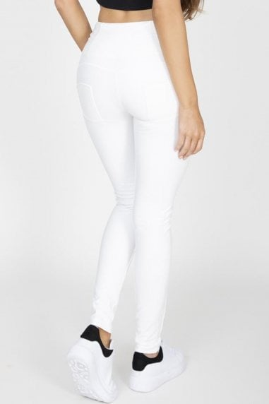 White High Waist Faux Leather Pants