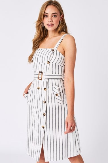 Liquorish White Button-Up Belted Stripe Dress