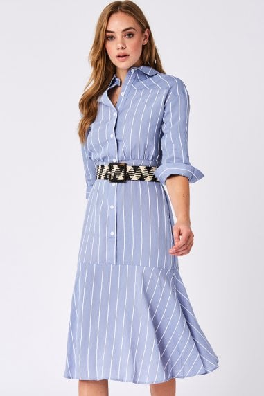 Liquorish Blue Stripes Midi Shirt Dress