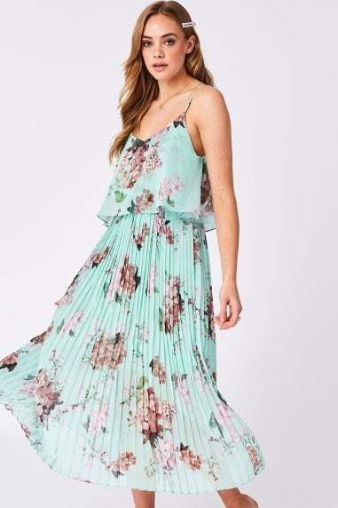 Mint Floral Print Pleated Cami Midi Dress