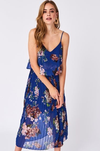 Dark Blue Floral Print Pleated Cami Midi Dress
