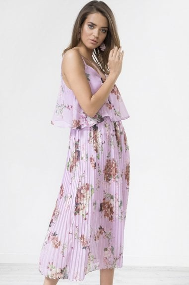 Lilac Floral Print Pleated Cami Midi Dress