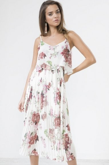 Cream Floral Print Pleated Cami Midi Dress