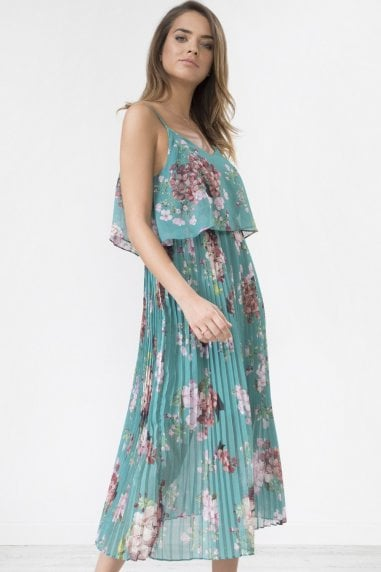 Green Floral Print Pleated Cami Midi Dress