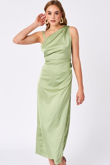 Mint Green Satin Asymmetric Neck Maxi Dress