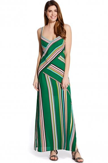 Green Printed Midi Slip Dress