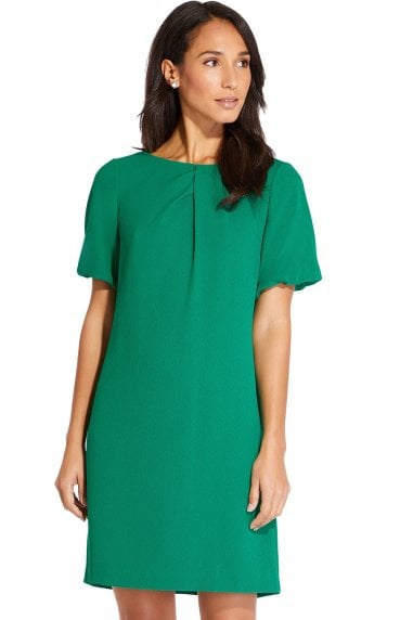 Emerald Puff Sleeve Mini Shift Dress