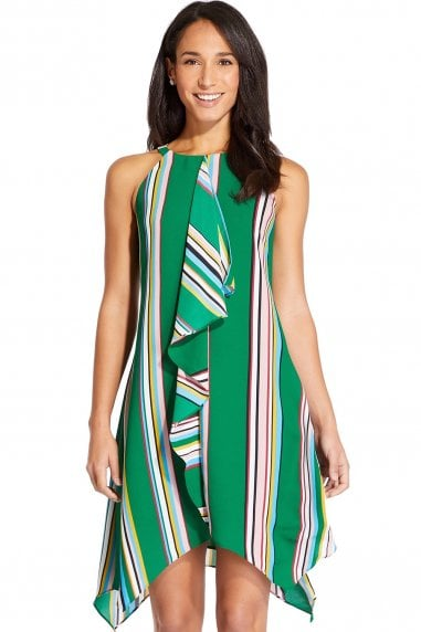 Green Striped Handkerchief Dress