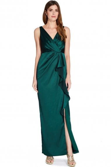 Forest Green Draped Maxi Dress