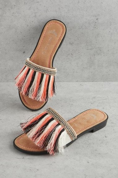 Multi Coloured Fringe Sandals