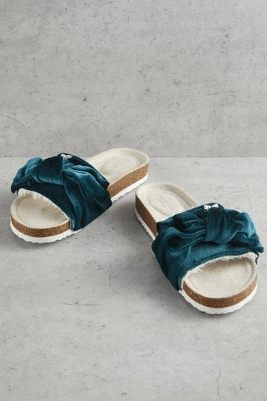 Emerald Velour Bow Footbed Sandals