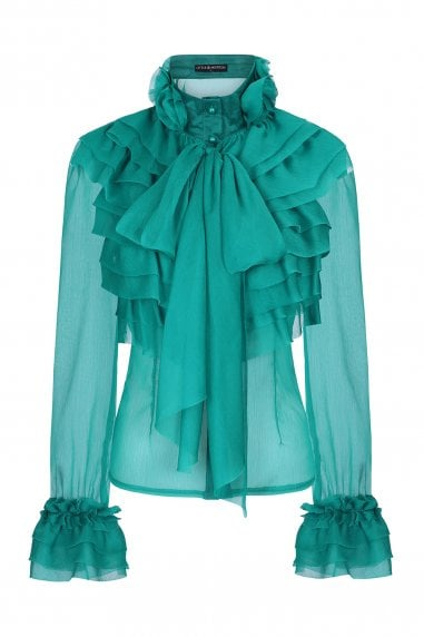 Lesa Green Frill And Pussybow Blouse