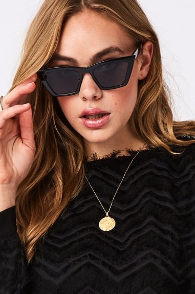 Gigi Black Sharp Cat Eye Sunglasses