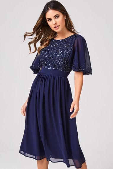 Luxury Sally Navy Hand-Embellished Sequin Flutter Sleeve Midi Dress
