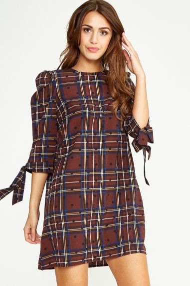 Brown Checked Mini Dress