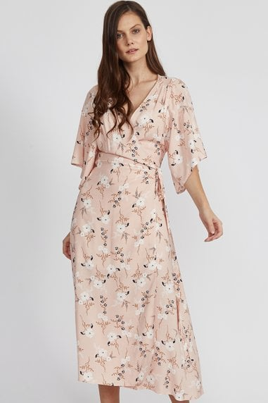 Baby Pink Floral Wrap Midaxi Dress