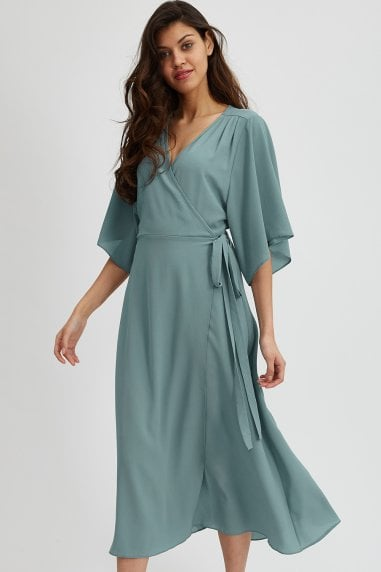 Sage Green Midaxi Wrap Dress
