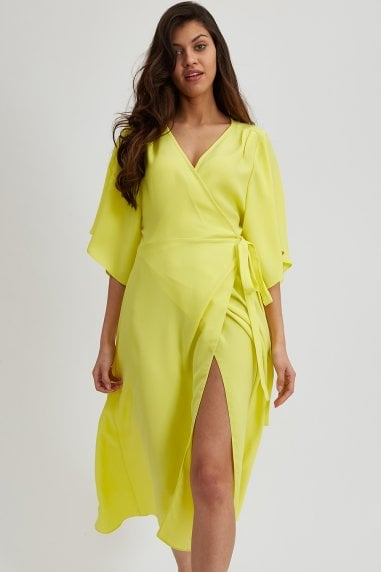 Yellow Midaxi Wrap Dress