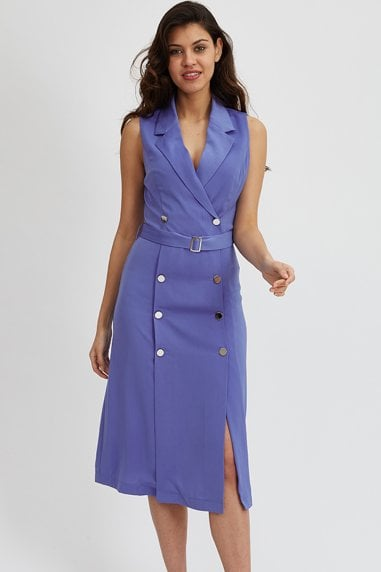 Blue Blazer Midi Dress